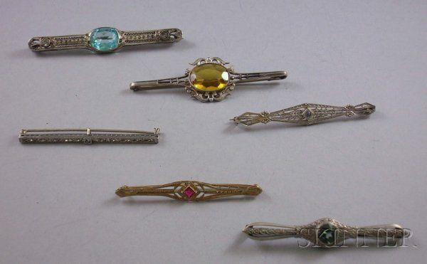 Six Antique Gem-set Bar Pins, one in 14kt yellow g