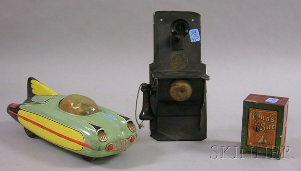 """801: Three Metal Toys, """"Baby Bell"""" painted tin wall tel"""