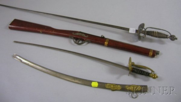 801A: Two Toy Weapons and a Spanish-style Steel Sword,