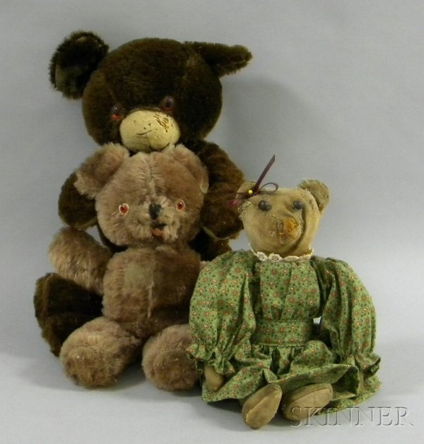 805A: Three Antique Teddy Bears, one small light brown,