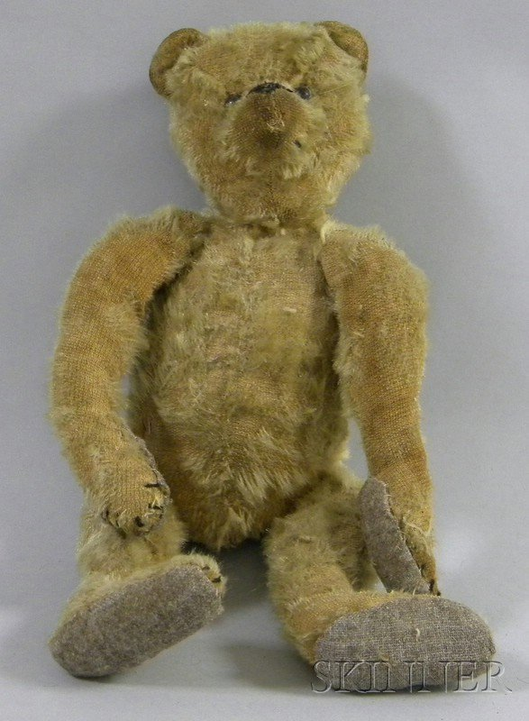 805B: Articulated Champagne Mohair Teddy Bear, with can