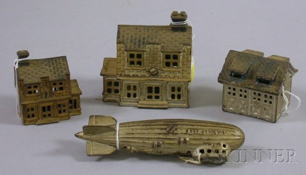 808: Painted Cast Iron Graf Zeppelin Bank and Three Pai