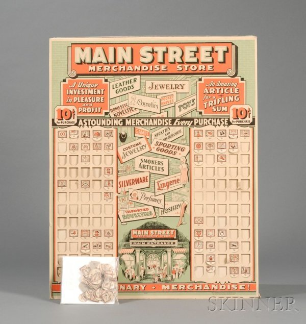 """809: Lithographed Cardboard """"Main Street Merchandise St"""