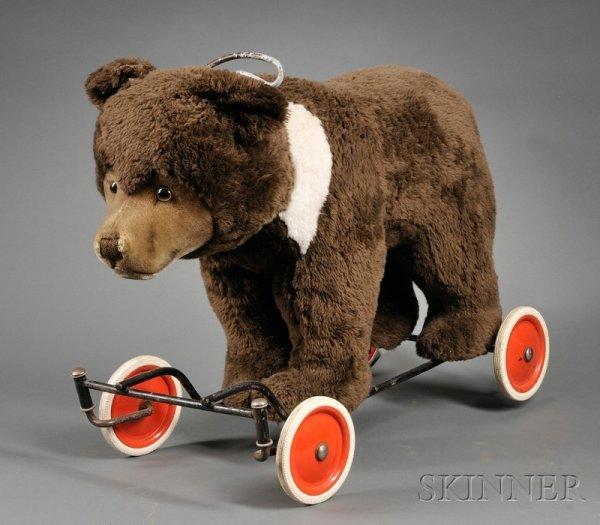 812: Steiff Ride-On Bear Cub, mid-20th century, dark br