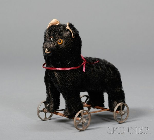 813: Early Black Bristle Mohair Cat-on-Wheels, probably