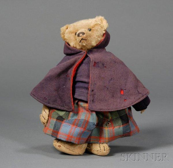 814: Early Dressed Steiff Golden Mohair Teddy Bear, wit