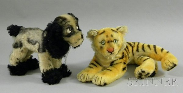814A: Two Steiff Animals, a tiger (minor wear, lacking