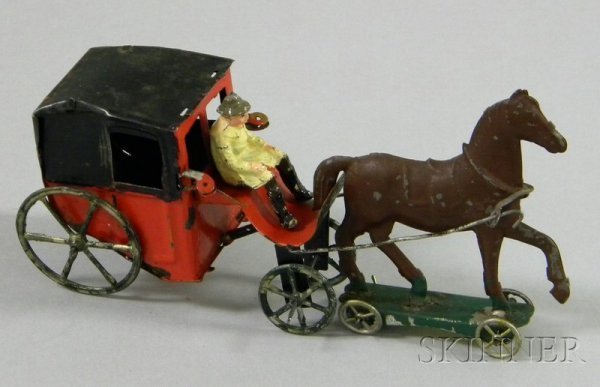815A: Painted Tin Horse-Drawn Carriage, 1870s, brown ho
