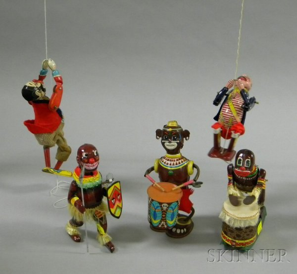 815B: Five Lithographed Tin Clockwork Toys, two Line-Ma