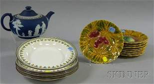 1152 Wedgwood Dark Blue Jasper Dip Teapot Set of Six