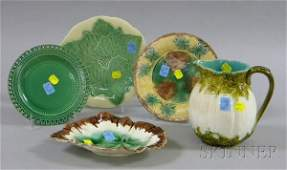 1477: Five Pieces of Assorted Majolica Tableware, a mel