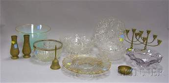 1600 Group of Glass and Brass Items four colorless pr