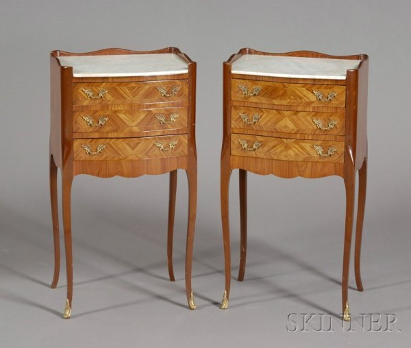 13: Pair of Louis XV Style Tulipwood and Marble-top Thr
