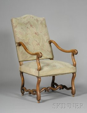 21: Flemish Baroque Style Walnut Open Armchair, late 19