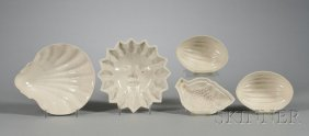 22: Five Staffordshire White Saltglazed Stoneware Culin