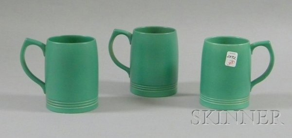 3: Three Wedgwood Keith Murray Designed Green Glazed Ce