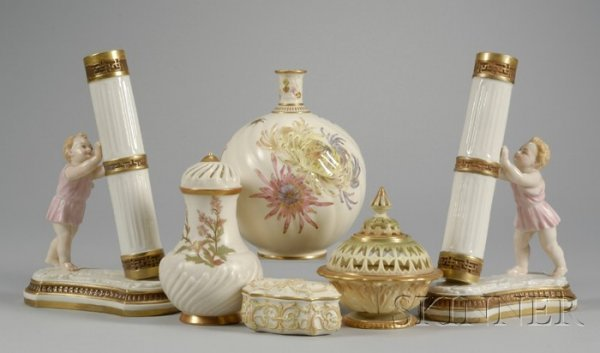 4: Six Royal Worcester Gilt and Hand-painted Porcelain