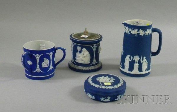 5: Four Wedgwood Dark Blue Jasper Dip Items, a box with