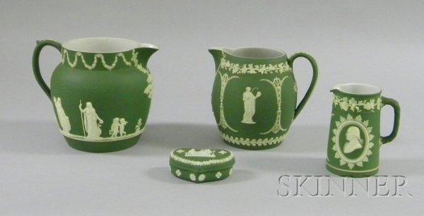 6: Four Wedgwood Olive Green Jasper Dip Items, two jugs