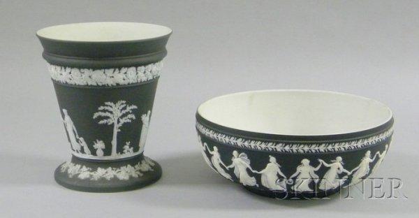 7: Wedgwood Black Jasper Dip Bough Pot and Salad Bowl,