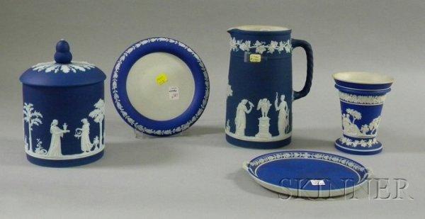 8: Five Wedgwood Dark Blue Jasper Dip Items, a pitcher,