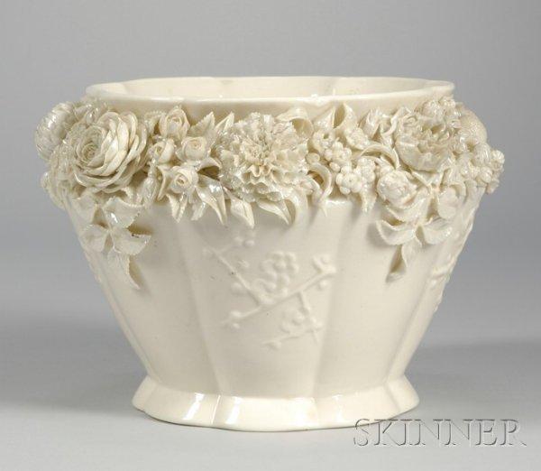 9: Belleek Floral Encrusted Porcelain Jardiniere, with