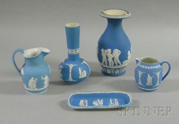 10: Five Wedgwood Light Blue Jasper Dip Items, two jugs
