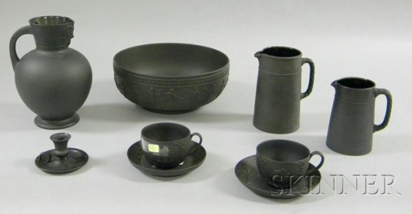 11: Nine Wedgwood Black Basalt Items, two jugs, a pitch