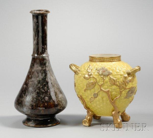 14: Royal Worcester Porcelain Drip Glazed Footed Bottle