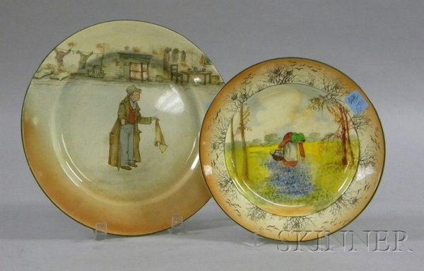 """16: Two Royal Doulton Plates, one depicting """"The Artful"""