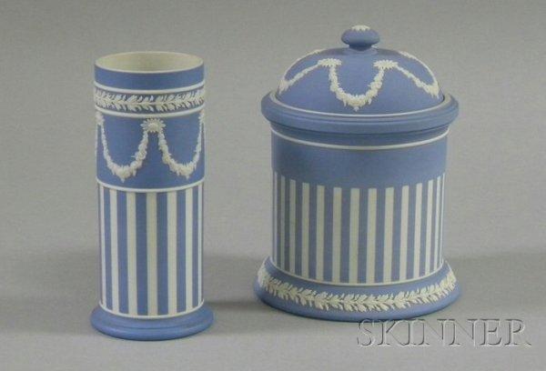 18: Wedgwood Light Blue Jasper Dip Spill Vase and Jar w