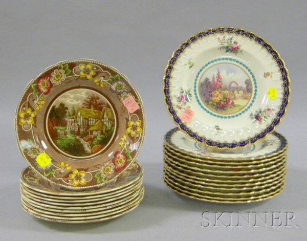 19: Set of Twelve Spode Transfer Decorated and Hand-col
