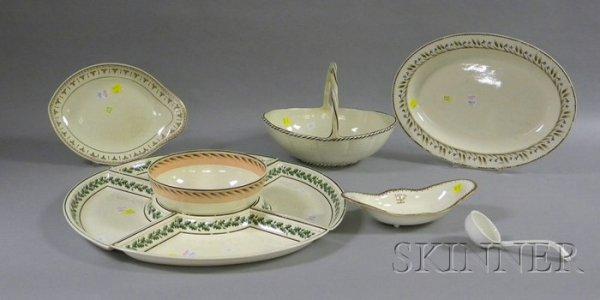 24: Ten Wedgwood Hand-painted Creamware Tableware Items