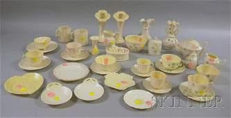 54: Thirty-seven Assorted Belleek Porcelain Table Items