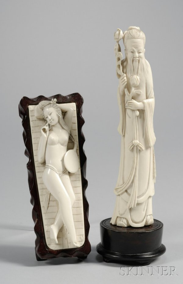272: Two Chinese Ivory Carvings, a standing figure of a