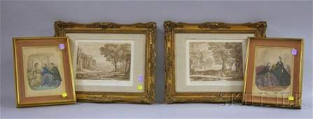 405: Two Pairs of Giltwood-framed Prints, two John Boyd