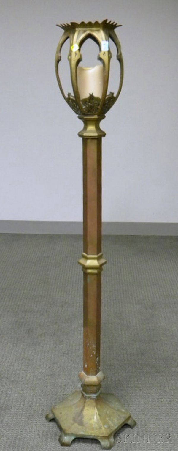 505: Gothic Revival Cast Brass Torchiere.