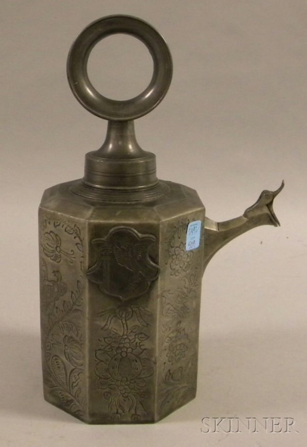 509: 19th Century German/Austrian Decorated Pewter Wine
