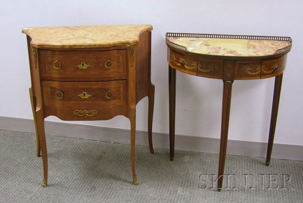 514: Louis XVI Style Marble-top Inlaid and Veneered Two