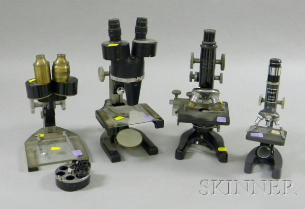 517: Four Compound Microscopes by Various Makers, inclu