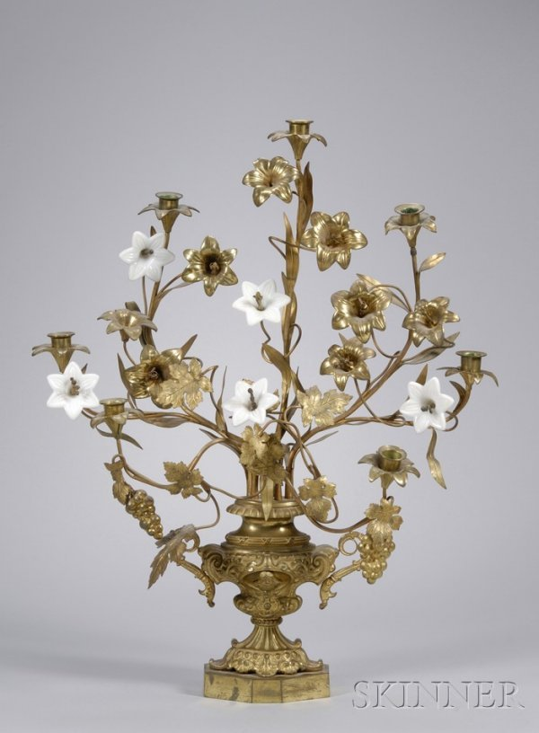 519: Victorian Gilt-metal and White Glass Blossom Seven