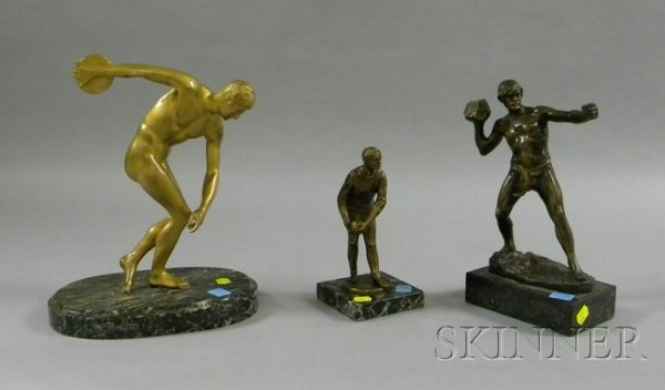 524: Three Bronze Athletic Figures, a bowler, hurler, a