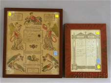 Two Framed 19th Century Family Records, an 1819 Pe