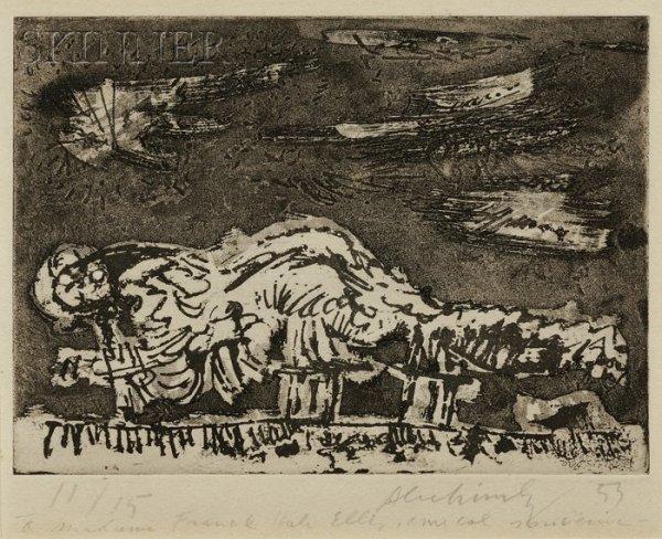 2: Pierre Alechinsky (Belgian, b. 1927) Figure, 1953, e