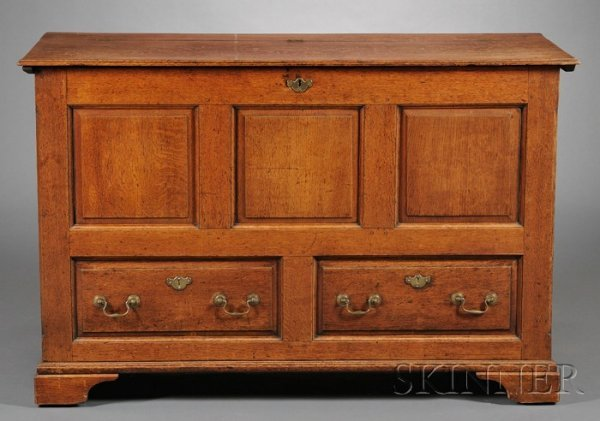 4: Oak Joined Paneled Chest over Faux Drawer, probably