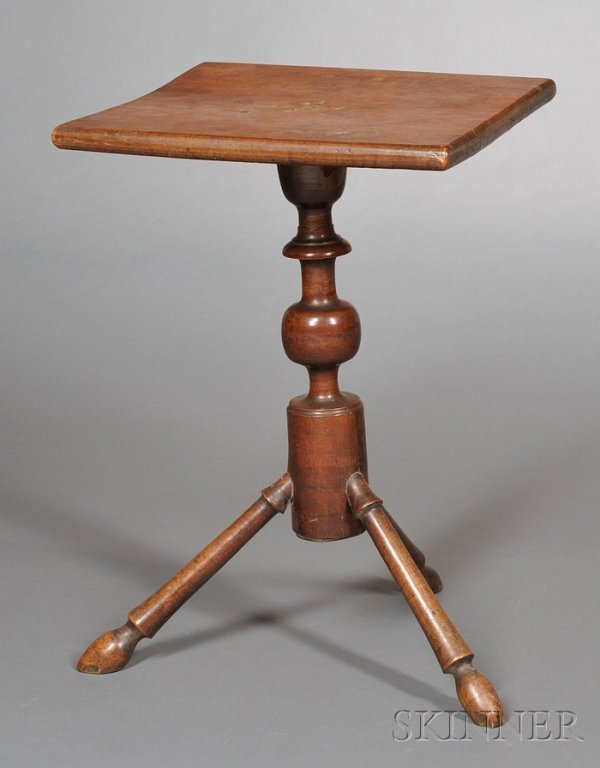 5: Maple Turned Candlestand, probably New England, earl