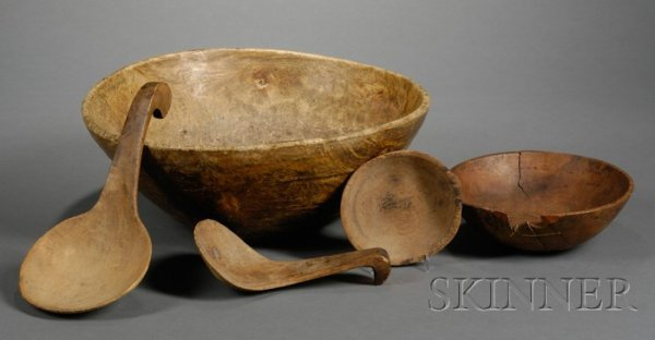 7: Five Woodenware Items, America, 19th century, a turn