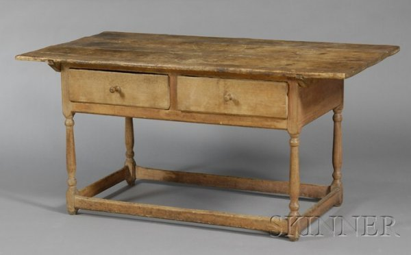 11: Large Two-Drawer Maple and Pine Stretcher-base Tabl
