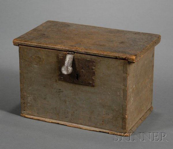 13: Small Blue-gray Painted Pine Box, probably British