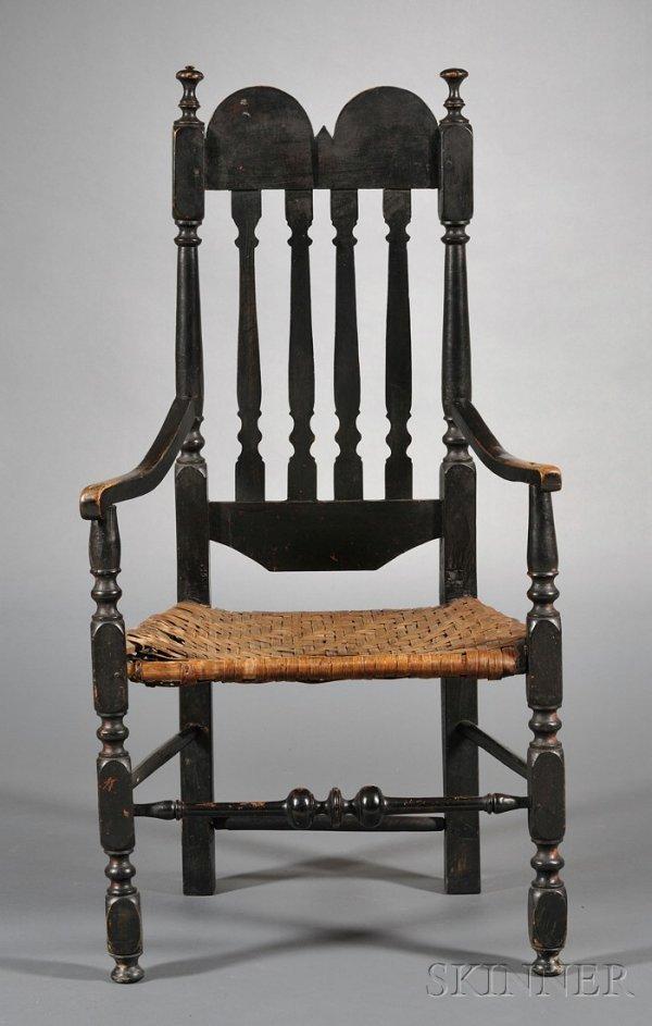 14: Black-painted Bannister-back Armchair, Massachusett